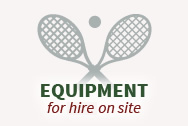 Tennis balls and racquets are available for renting